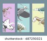 dinosaurs skeletons silhouettes ... | Shutterstock .eps vector #687250321