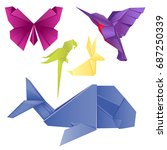 animals origami set japanese... | Shutterstock .eps vector #687250339