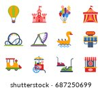 carousels amusement attraction... | Shutterstock .eps vector #687250699
