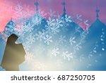 blurred muslim women prayer in... | Shutterstock . vector #687250705
