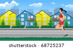girl jogging | Shutterstock .eps vector #68725237