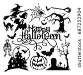 spooky halloween paper cut... | Shutterstock .eps vector #687252904