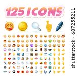set of 125 realistic cute icons ... | Shutterstock .eps vector #687255211