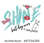 shine slogan with patch | Shutterstock .eps vector #687256285