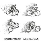 bicyclist on bike particle... | Shutterstock .eps vector #687263965