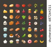 set of colorful icons of... | Shutterstock .eps vector #687264211