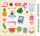 set of colorful pictures of... | Shutterstock .eps vector #687264241
