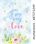watercolor card with flowers.... | Shutterstock . vector #687271249