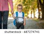 parent taking child to school.... | Shutterstock . vector #687274741