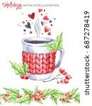 watercolor illustration. hand...   Shutterstock . vector #687278419