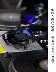 black dj headphones monitors on ... | Shutterstock . vector #68728729