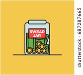 swear jar illustration in line... | Shutterstock .eps vector #687287665