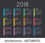 Colorful Year 2018 Calendar...