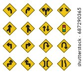 traffic sign yellow set vector... | Shutterstock .eps vector #687290365