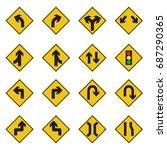 Traffic Sign Yellow Set Vector...