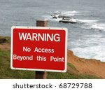 Warning Sign On Top Of Cliff...