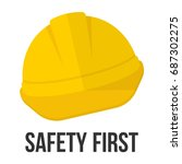 safety first. hard hat icon.... | Shutterstock .eps vector #687302275