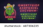 mexico cafe neon sign  bright... | Shutterstock .eps vector #687306235
