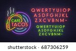 taco cafe neon sign  bright... | Shutterstock .eps vector #687306259