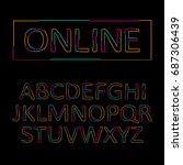stylized outline vector font... | Shutterstock .eps vector #687306439
