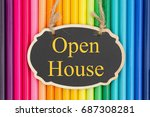 open house text on a chalkboard