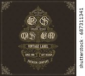 old vintage card with floral... | Shutterstock .eps vector #687311341