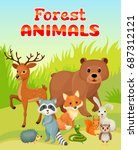 group of wild animals gathering ... | Shutterstock .eps vector #687312121