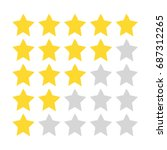five star rating. gold and gray ... | Shutterstock .eps vector #687312265