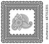 henna tattoo flower template...   Shutterstock .eps vector #687312301