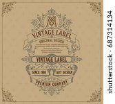 old vintage card with floral... | Shutterstock .eps vector #687314134