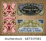 vector vintage items  label art ... | Shutterstock .eps vector #687319381