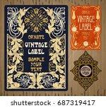 vector vintage items  label art ... | Shutterstock .eps vector #687319417
