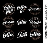 set of coffee hand written... | Shutterstock . vector #687322144