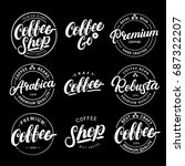 set of coffee hand written... | Shutterstock . vector #687322207