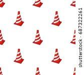 traffic cone icon in cartoon... | Shutterstock .eps vector #687322261