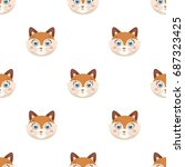 fox muzzle icon in cartoon... | Shutterstock .eps vector #687323425