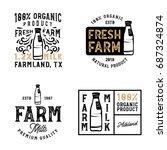 farm fresh milk badges and... | Shutterstock .eps vector #687324874