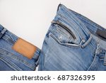 set of back and blue jeans gray ... | Shutterstock . vector #687326395