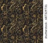 vector seamless flowering... | Shutterstock .eps vector #687329731