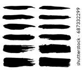 set of hand painted black... | Shutterstock .eps vector #687332299