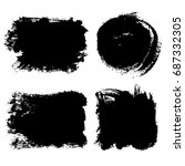 set of hand painted black... | Shutterstock .eps vector #687332305