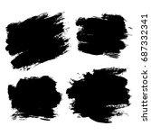 set of hand painted black... | Shutterstock .eps vector #687332341
