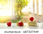 cheese and red strawberry... | Shutterstock . vector #687337549