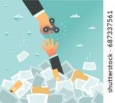 overwhelmed student get spinner ... | Shutterstock .eps vector #687337561