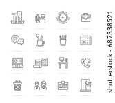 office vector line icons ... | Shutterstock .eps vector #687338521
