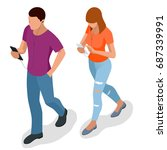 isometric young people ...   Shutterstock .eps vector #687339991
