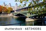 the bridge bir hakeim in paris  ... | Shutterstock . vector #687340081