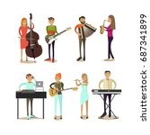 Icons Set Of Musician People...