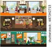 set of pub  brasserie and...   Shutterstock . vector #687342715