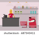 domestic robot shopping at... | Shutterstock .eps vector #687343411
